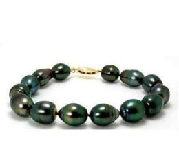 Wholesale Tahitian Pearl Strands - Beaded Hand Chain 11-13mm Tahitian Black Green Pearl Bracelet 7.5-8 Inch 14k Gold Clasp