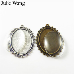 Wholesale antique cameo glass - Julie Wang 2 sets Antique Bronze Silver Patterns alloy+glass cameo cabochon base setting charm photo pendants Jewelry accessory