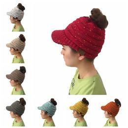 Wholesale women woolen hats - CC Beanies Winter Woolen Knitted Cap Casual Dots Unisex Multi Color For Women and Big Children Warm Hat 60pcs NNA343