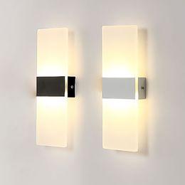 2019 luz nocturna de escaleras 6W 12W llevó la luz de la pared de acrílico AC85-265V Aplique de pared Salón Dormitorio Fondo Pasillo Patio Lámpara BL06