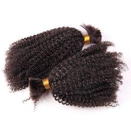 Estensioni dei capelli di treccia vergine online-1 pezzo mongolo riccio crespo umano intrecciare i capelli per l'estensione di colore naturale vergine intrecciare i capelli senza trama nessun allegato