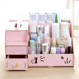 Wholesale wooden jewelry boxes drawers - wholesale DIY Wooden Storage Box Makeup Organizer Jewelry Container Wood Drawer Casket For Decor Cosmetic Storage Organizer