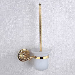 Wholesale Brass Toilet Brush - Golden WC Brush Holder Sets Luxury 304 Stainless Steel and Copper Wall Mounted Bronze Toilet Brush Holder Bathroom Accessories