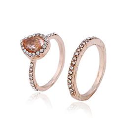 Perla conjunto de la boda online-Diseño de marca Conjuntos de anillos para joyería de boda Gota de agua Anillo de piedras preciosas de pera Piedra grande Oro rosa plateado