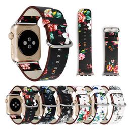 2019 orologi stampati floreali Cinturino in pelle per Apple Watch 38mm 42mm per Iwatch Series 1 Series 2 Series 3 Flower Strap Floral Prints Bracciale da polso orologi stampati floreali economici