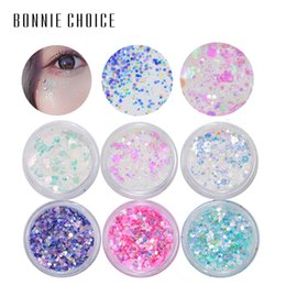 BONNIE SCELTA Eye Glitter Eye Shadow Paillettes Misto Flake Chunky Nail Face Set Decorazioni Body Tools Kit di trucco 6 Scatole cheap nails decoration kit da kit di decorazione delle unghie fornitori