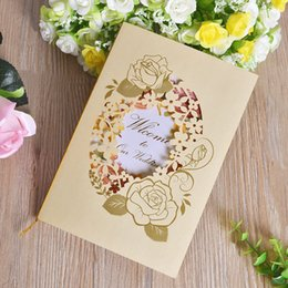 Wholesale European Invitations - Yellow Wedding Invitations Card European Hollow Style Rose Painting For Marry Greeting Birthday Party Cards Hot Sale 0 98cfa Z
