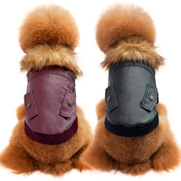 Wholesale Teddy Bear Winter - PU Cotton Winter Cool Coat For Dog Pet Fashion Vintage Clothing Teddy Bear Clothings Collar With Fur Warm Coats Pets Jackets Free Ship