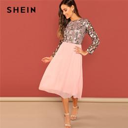 Canada SHEIN sortant rose fleur brodée contraste corsage col rond taille haute robe femmes une ligne longues robes élégantes Offre
