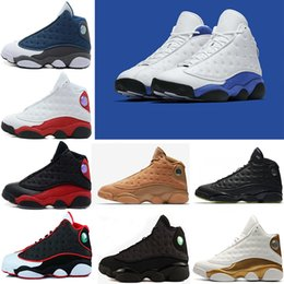 Wholesale Mens Purple Canvas Shoes - With box High Quality hyper royal retro 13 13s Altitude Wheat Bred DMP Chicago mens basketball shoes sneakers Sports trainers US 8-13