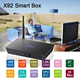 wifi hot box Coupons - 2018 Octa Core S912 TV Box X92 2G 16G Free Movies Streaming media player Dual AC WIFI Gigabit Lan BT4.0 hot sell Android 7.1 TV Boxes