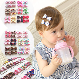 Wholesale cotton paper flowers - INS flower bow Hair Clips baby beautiful barrettes cute hair accessories infant dot polka leopard bandanas headband Hair Clips LC691