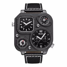Nuovi uomini orologi orologi online-OULM Marchio di moda al quarzo con più fuso orario Compass Thermmeter, alta qualità e nuovo stile orologio regalo per i vostri uomini, padre