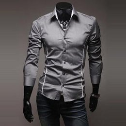 d27af7e1 2018 Mens Fashion Luxury Stylish Casual Designer Dress Shirt Muscle Fit  Shirts 3 colors 5 Sizes