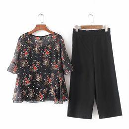 24d527fa9b4 chiffon pants dress top NZ - Plus sizes chiffon 2 piece set women 2018 floral  print