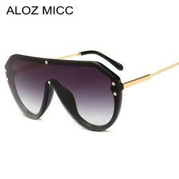 75c618c6abbbb ALOZ MICC 2019 Novas Mulheres Da Moda Um Pedaço De Óculos De Sol Dos Homens  de Metal De Grande Porte óculos de Sol UV400 Oculos Gafas Eyewear A635