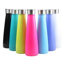 Wholesale Metal Tumblers - Cola Bottle Insulation Water Bottle Stainless Steel 450ml Solid Color Tumbler Portable Summer Cups Cola Shaped Bottle sports cups HHA12