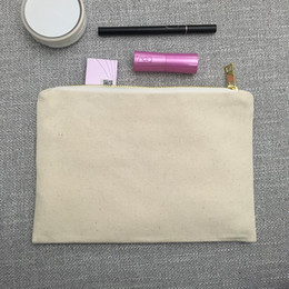 Wholesale Toiletry Gifts - Blank Canvas makeup bag natural canvas cosmetic bag 100% cotton toiletry bag large travel makeup case personalized bridesmaids gift pouch