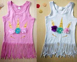 Wholesale wholesale toddler girl tank - Cartoon Unicorn Baby Girls Soft Cotton Tassel Dress Summer Sleeveless T-shirt Dress for Toddlers Kids Party Tank Tops Vest Clothes