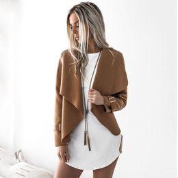 Wholesale Longest Woman Down Jacket - Autumn Fashion Turn-down Collar Coat Women Long Sleeve Cardigan Female Woolen Coat Solid Lapel Short Jacket Womens Outwear Lady