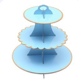 Ragazzi di dolciumi per bambini online-Carino Solid Reticolo blu del basamento della torta bambini baby shower bambini torta di compleanno decorazione feste ragazzo e ragazze del rifornimento del partito