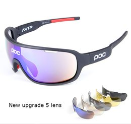 Wholesale Running Sun - POC Polarized 9 Colors Sun Glasses 5 Lens Brand 2017 Polarized POCs Sunglasses For Men Women Sport Cycling Bicycle Running TR90 Sunglasses