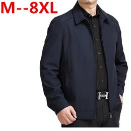 Wholesale middle age men jacket - plus size 10XL 8XL 6XL 5XL Spring Autumn Men's Jackets Turn-down Collar Overcoat Middle-aged Man Casual Zipper Coats Male Jacket