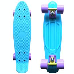 "Wholesale Board Assembly - Wholesale-CHI YUAN Pastel Skateboard Plastic Longboard Mini Cruiser 22"" Retro Skate Board Complete No Assembly Required"