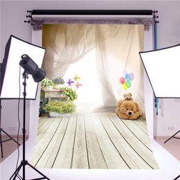 фоны для детской фотосъемки Скидка KIDNIU photography backdrop photo props fantasy ballon bear children wooden floor vinyl 5x7ft or 3x5ft photo background for baby