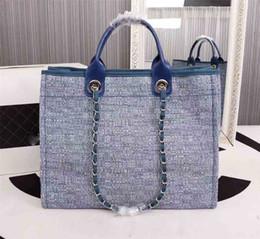 Bolso de playa azul online-Bolso de playa para mujer Bolso de playa de gran capacidad de calidad superior de la manera caliente totalizador de las mujeres bolso de mano azul gris beige rosa