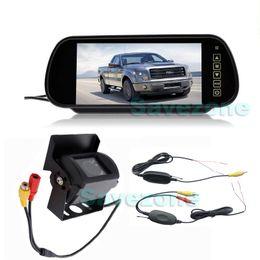 "Wholesale rear vision mirror reverse camera - Wireless CCD 18 IR LED Night Vision Waterproof Reversing Backup Camera + 7"" LCD Monitor Mirror Car Rear View Parking Assistance Kit"