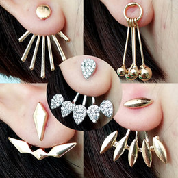 Wholesale Korean Wholesale Free Shipping - Korean Gold and Silver Plated Leave Crystal Stud Earrings Fashion Statement Jewelry Earrings for Women free shipping