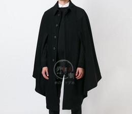 mens di cappotto incappucciato a lana singola Sconti S-6XL HOT 2018 primavera maschio nuova moda personalità allentata mantello mantello lungo cappotto di lana