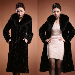 Wholesale Leather Mink Coats Women - Women's Fashion Faux Leather Grass Mink Hair Coat Collar With Side Pocket Long Section
