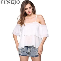 off cinghie camicetta spalla Sconti FINEJO Cascade Sexy Spaghetti Top Finejo Shoulder Ruffle Ladies Blouse Strap Women Off