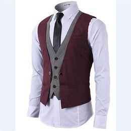 2019 costume rouge gris 2018 setwell rouge gris Hommes d'affaires formelles Slim Fit Costume de la mode d'affaires gilets boutonnés Personnalisé simples vestes de marié pour Bestman costume rouge gris pas cher
