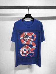 Wholesale Poker T Shirts - Tide brand customization 2018 spring summer blue coral Python poker poker rib collar Casual Short Sleeved t-shirt men and women