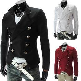 blazers homens europeus Desconto Chegada nova Moda masculina Estilo Europeu Double-breasted Casual Lapela Fino Terno Blazer Casaco