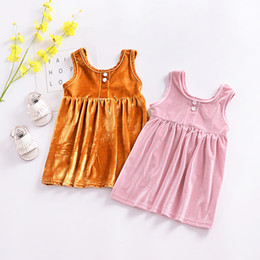 Wholesale Unique Kids Fashion - European Fashion Kids Dress Clothing 2018 Baby Girl Unique Sleeveless Soft Dresses Chidlre's Dresses Girls Party Dress Pink Yellow A8509
