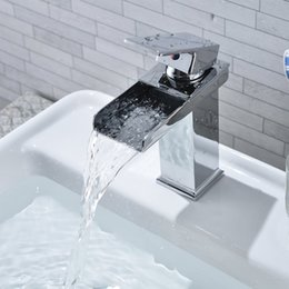 Wholesale Square Sink Faucet - Square Waterfall Faucet Tap Sink Chrome-plating Polished Bathroom Toilet Washing Basin Sink Single Hole Faucet Quality