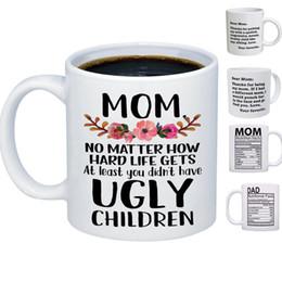 Regalos divertidos de cafe online-301-400ml Regalos divertidos del día de madre para la taza de café del papá de la mamá Taza de té de la leche de consumo de cerámica gracias para los regalos de la mamá HH7-1001