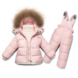 Wholesale Duck Down Jackets For Boys - Children's Clothing Winter Jacket For Girls Boys White Duck Down Jacket+Pants Suit Solid Thick outerwear & coats Waterproof
