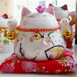 Gatti fortunati in ceramica online-Ceramica Fortune Cat Lucky Originality Contenitore di soldi carino Campana piccola Affari Regalo di compleanno Artigianato Home Decor 30jj bb