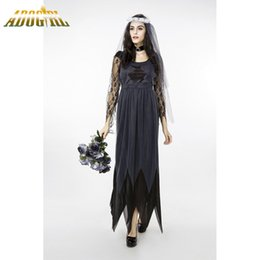 sexy party tv xxl Promo Codes - Halloween Horrible Ghost Bride Costume For Adult Cosplay Dresses New Sexy Plus Size XXL Black Long Sleeve Loose Party Slim Dress