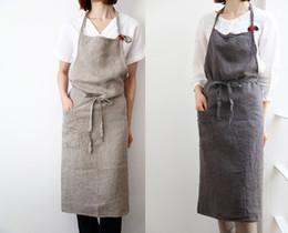 Korea modegewebe online-High-End Japaner Korea Schürze Leinen und Baumwollgewebe einfache Art und Weise Art Attendant Schöne Salon-Nagel-Schürzen Umweltfreundlich