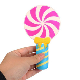 Wholesale big lollipops - 16CM Jumbo Kawaii Colorful Lollipop Candy Squishy Slow Rising Pendant Strap Soft Squeeze Cream Scented Bread Cake Kid Toy Gift