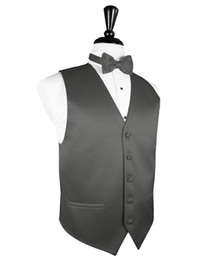 formal grey mens vest UK - 2018 New Arrival Mens Charcoal Grey Tuxedo Vest Bowtie Set Formal Groomsmen Wedding Slim Fit Suit Waistcoat Plus Size