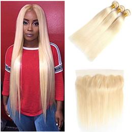 Canada 613 brésilienne de soie droite blonde vierge cheveux 13 x 4 dentelle fermeture frontale avec des faisceaux supplier silk frontal closures wholesale Offre