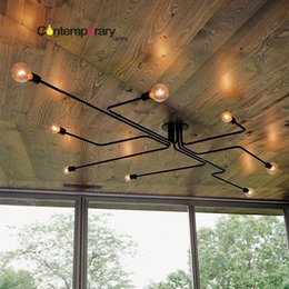 Wholesale Dinning Lights - Black Retro industrial loft Nordic Ceiling lamp Home Decor Conduit pipe light fixture for restaurant dinning cafe bar room