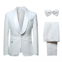 spring fashion colours Coupons - Hot Selling Fashion Wedding Suits Colour White Three Pieces (Jacket+Pant+Bow Tie) Side Vent Print Bridegroom Formal Wears